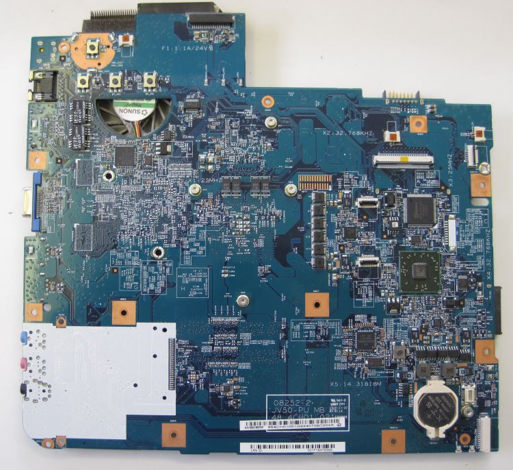 Motherboard removed from the laptop