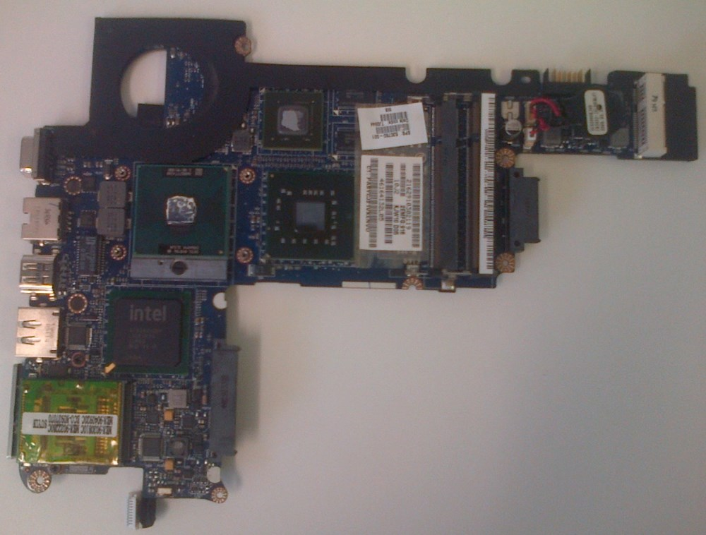 Motherboard removed from chassis - view from top,