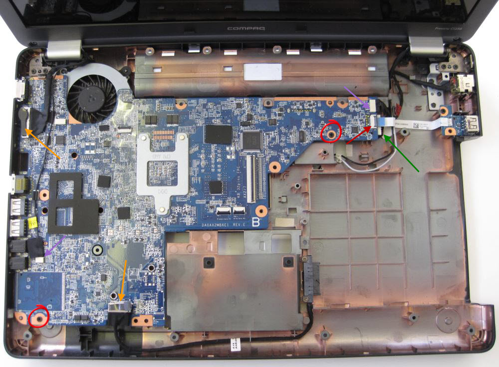 HP Compaq removing motherboard